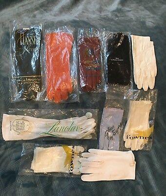 Vtg Womens Opera/Evening/Dress Leather Italy Lot of 10 GLOVES New Used sz 7 1/2