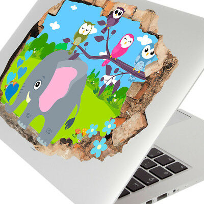 Wall Stickers Elephant Owls Cute Nursery Laptop Girls Boys Living Door G787