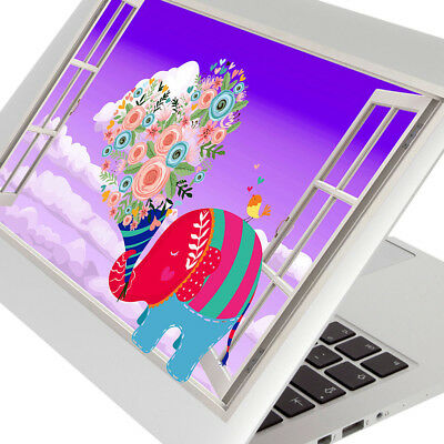 Wall Stickers Elephant Colous Flowers Kids Laptop Girls Boys Living Door G734