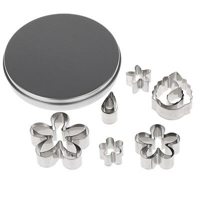 12pcs flower shape cookie cutter slicers biscuit stainless steel cake mold UK
