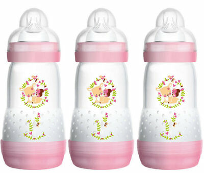 New Mam easy start anti colic self sterilising bottles Pink 260ml 3pack 2Month+