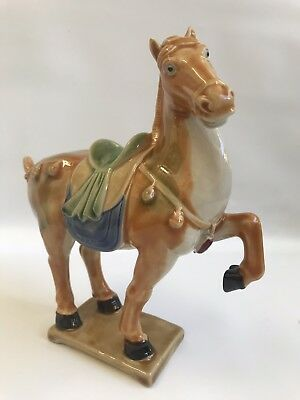Vintage Tang Style Chinese War Horse Statue Figurine Pottery Asian Decorative