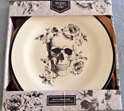 Ciroa Wicked Black & White Roses Skull Halloween Dinner Plate Set Of 4 New