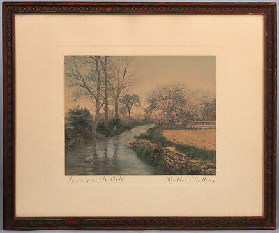 Early 20th Cent. Signed Hand Tinted Landscape Framed Photograph Wallace Nutting