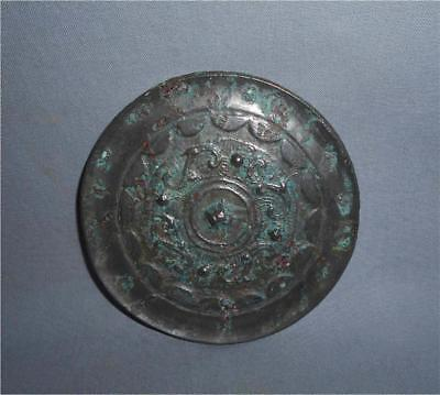 Antique China TOP HIGH AGED ORIGINAL ANCIENT HAN DYNASTY BRONZE ALLOY MIRROR