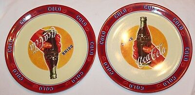 "2002 Coca Cola Coke Collectible Plastic 10.5"" Two (2) Dinner Plates"