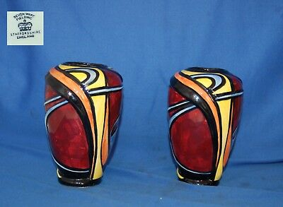 Pair of vintage Devon Ware Fieldings Art deco hand painted vases marked HB