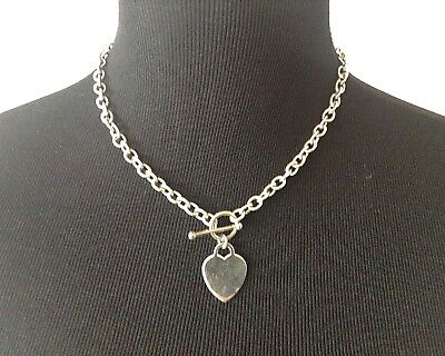 "925 Sterling Silver Rolo Link Chain Blank Heart Tag Toggle Necklace 17"" 34grams"