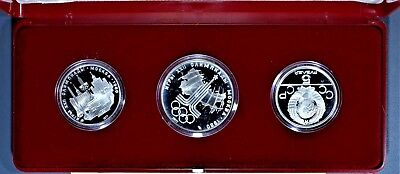 1980 5 & 10 ROUBLE MOSCOW OLYMPIC USSR PROOF 3-COIN 90% SILVER w/Box COA A7900