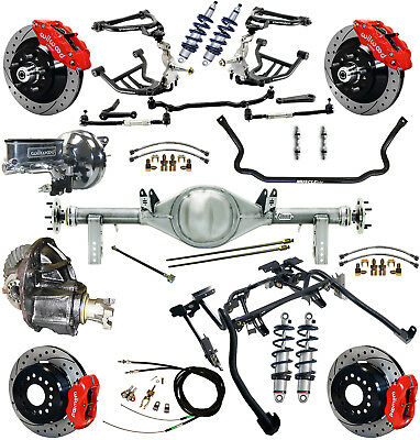 """Ridetech Coilover,4-Link Kit,currie Rear End,wilwood Disc Brakes,13""""/12"""" Drl,red"""