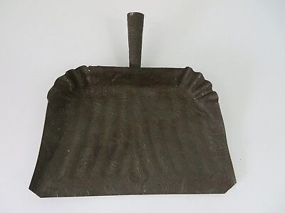 Vintage Primitive Soldered Steel Dust Pan Ornate Embossed Deer Dog Bird #7103
