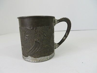 Vintage Primitive Soldered Steel Cup Mug Ornate Embossed Deer Cherub Bird #7102
