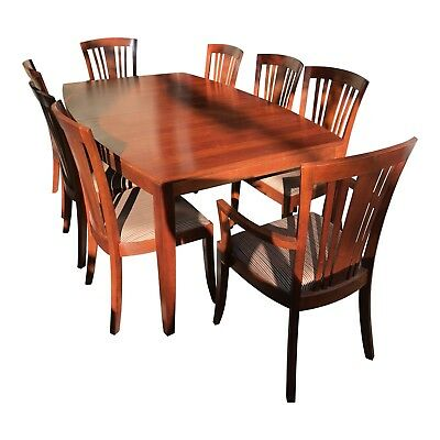 Stickley solid dark CHERRY dining table, 8 chairs with custom table pads