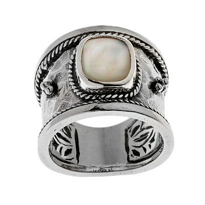 Savati ~ Sterling Silver with MOP Byzantine Band Ring