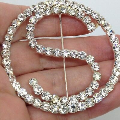 Vintage LARGE LETTER S BROOCH PIN Clear Glass Rhinestone Initial Costume Jewelry