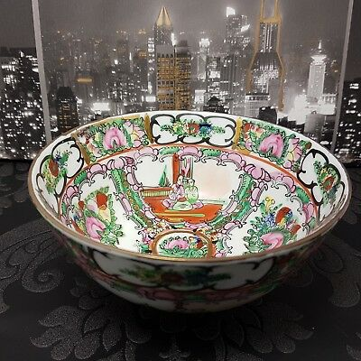 Vintage Chinese Famille Rose Imperial Bowl Canton Dish Porcelain Qing Antique
