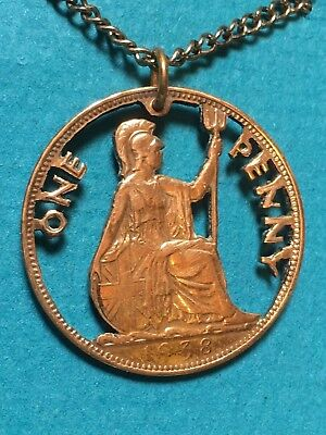 Great Britain Cut Coin Pendant Vintage British Penny