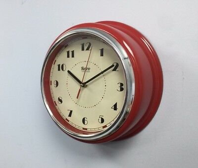 NEW Retro Vintage Shabby Chic Diner Round American Kitchen Wall Clock  30cm Red