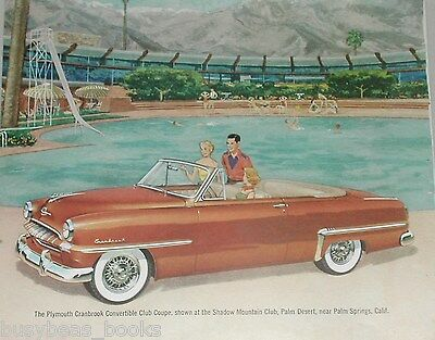 1953 PLYMOUTH advertisement, Plymouth Cranbrook Convertible by the pool