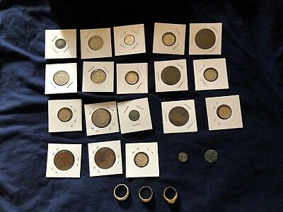 Ancient coins, 3 bronze rings, Greek, Roman and Byzantine Silver World Coins