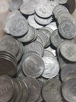 Job Lot Of 100 x Old Pre-Decimal (1/-) Shillings Bulk Buy!