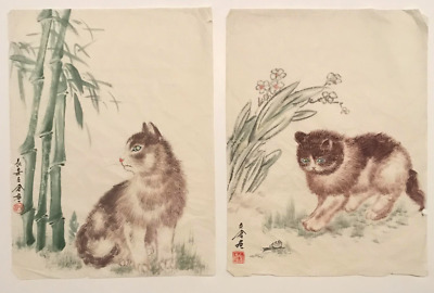 Chinese Vintage Cats Snail Bamboo Watercolor Paintings Signed Rice Paper #S602