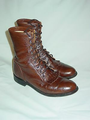 c2899299f5b WOMENS JUSTIN KILTIE Lacers Lace Up Western Cowboy Cowgirl Roper Boots Size  6.5