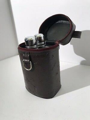 Double Flask Travel Set with Leather Carrier Vintage