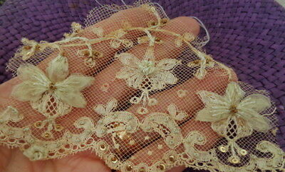 Gorgeous Victorian Silk Over Embroidered French Lace Fragment