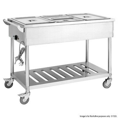 Stainless Steel 3 Bay Hot Bain Marie Trolley Electrical Food Cart 900mmH