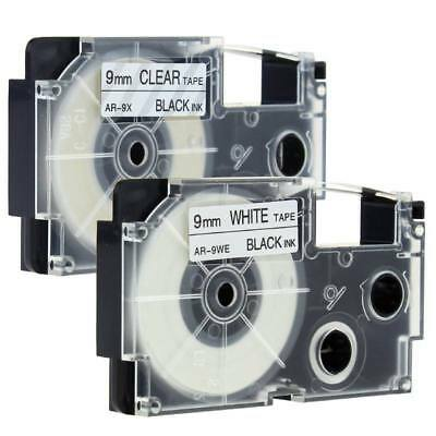2PK Compatible Casio XR-9WE XR-9X Black on White/Clear 9mm Label Tape KL430 NEW