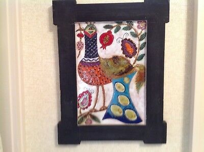 Gorgeous Large Framed Tile Art With Colorful Bird & Flowers
