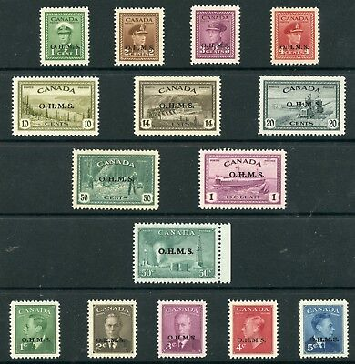 Weeda Canada O1-O15A VF MNH regular issues with OHMS official overprint CV $626+