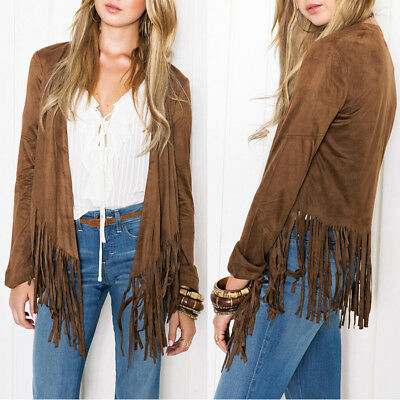 Womens Open Front Suedette Long Sleeve Tassel Fringed Coat Lapel Jacket Tops