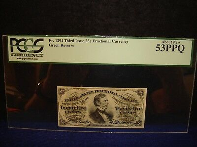 FR-1294 U.S. 1864-69  25 CENTS FRACTIONAL CURRENCY   PCGS 53 PPQ Abt New
