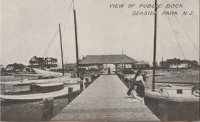 S21.1118 Vintage Postcard RPPC Seaside Park, NJ View of Public Dock c.1910-1920