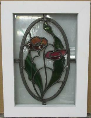 "OLD ENGLISH LEADED STAINED GLASS WINDOW Gorgeous Floral Design 14.5"" x 19.5"""