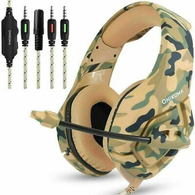 ONIKUMA K1 Camo Gaming Headset for PS4 New Xbox One 3.5mm Over Ear Mic Headphone