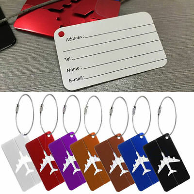 Chic Aluminium Plane Luggage Tags Suitcase Label Name Address ID Baggage Tag New