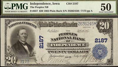 Large 1902 $20 Dollar National Bank Of Independence Iowa Note Currency Pmg Au 50