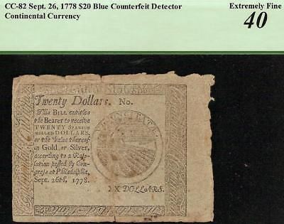 1778 $20 Dollar Blue Counterfeit Detector Continental Currency Note Cc-82 Pcgs