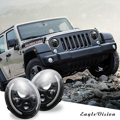 2X 7Inch Round 150W Total EV-CSP LED Headlights 97-17 For JEEP JK TJ LJ Wrangler