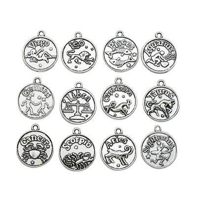 12pcs Antique Silver Zodiac Constellation Charm pendant Jewelry Accessories 18mm