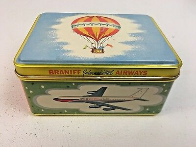 Vintage BRANIFF International Airways / Airlines Metal Storage Box Container