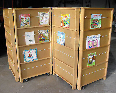 Jonti Craft Mobile Library Bookcase With 4 Sections Book Shelves Divider 2 Sided