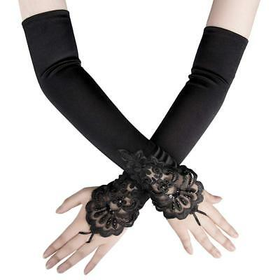 Women Fingerless Lace Sequins Satin Bridal Party Glove Long Opera Wedding Gloves
