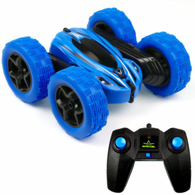 1:24 RC Stunt Car 4WD Monster Truck Double Sided Rotating Tumbling Rock Blue