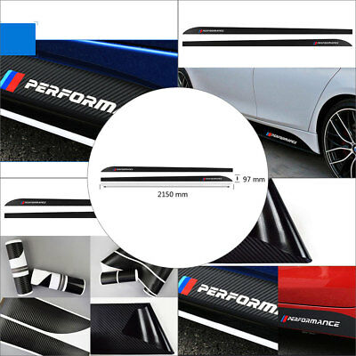 For BMW M Performance Side Skirt Carbon Fiber Vinyl Decal Stickers Sport Badge