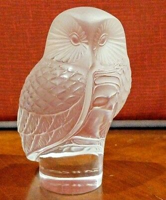 Lalique Crystal Owl Clear Frosted Signed Lalique R  France Stunning Figurine