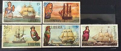 World Stamps Liberia 1972 Line 5 Stamps Royal Navy Ships Exc CTO Stamps (B9-9)
